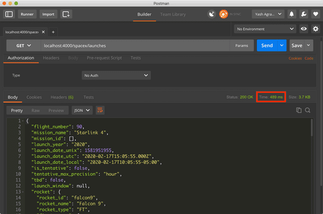 (Img 3) Postman screengrab with API response not cached