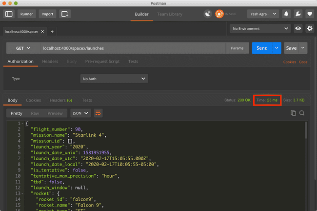 (Img 5) Postman screengrab with API response cached